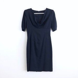 Black Halo Navy Blue Drape Neck Sheath Mini Dress